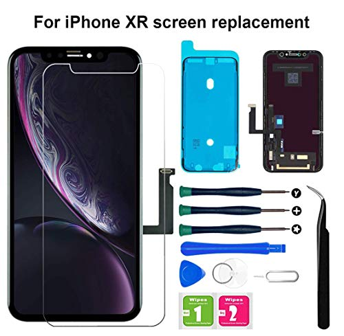 for iPhone XR Screen Replacement, LCD Display Touch Screen Digitizer Assembly with Tempered Glass Screen Protector Waterproof Frame Adhesive Sticker and Full Repair Tools for iPhone XR 6.1 inch