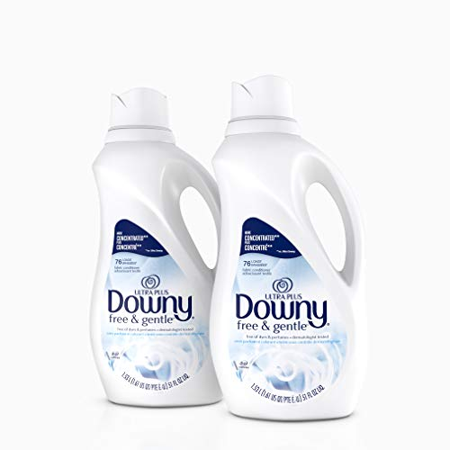 Downy Ultra Plus Free & Gentle Liquid Fabric Conditioner Fabric Softener, Concentrated, 51 oz Bottles, 2 Pack, 152 Loads Total
