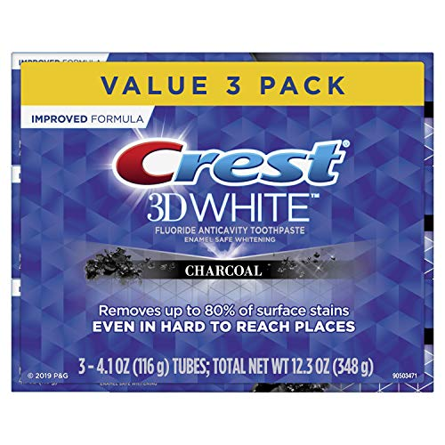 Crest 3D White, Charcoal Whitening Toothpaste, 4.1 oz, 3 Count