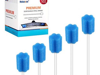 300 Pcs Oral Swabs-Unflavored & Sterile Disposable Dental Swabsticks for Mouth Cleaning- Individually Wrapped Blossom Blue