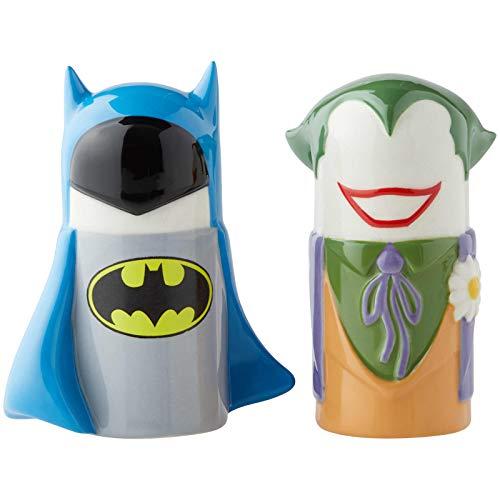 Enesco 6003729 DC Comics Ceramics Batman vs. Joker Stylized Salt and Pepper Shakers, 3.89 Inch, Multicolor