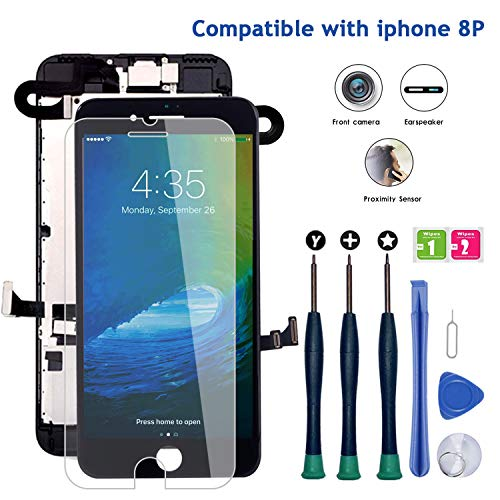 """for iPhone 8 Plus Screen Replacement Black 5.5"""", LCD Display Touch Digitizer Assembly Replacement with Front Camera+ Earpiece Speaker+ Repair Tools Kit+ Screen Protector iPhone 8 Plus Screen Black"""