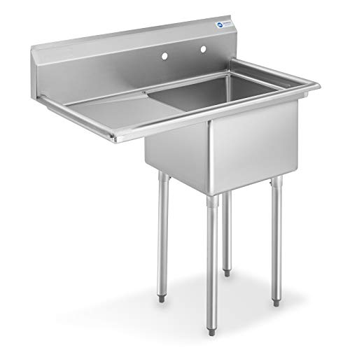 "GRIDMANN NSF Stainless Steel 18"" Single Bowl Commercial Kitchen Sink with Left Drainboard - 12 in. Deep"