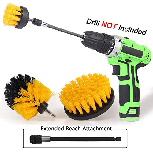 Drill Brush Power Scrubber Drill Brush Attachment 4 Set with Extend Long Attachment Suitable for Clean for Grout, Tiles, Sinks, Bathtub, Bathroom, Kitchen & Auto