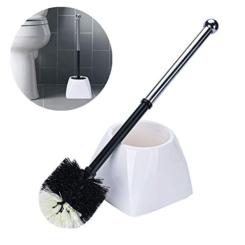TreeLen Toilet Brush with Stainless Steel Long Handle Toilet Bowl Brushes with Holder Bathroom Toilet Cleaner Scrubber Scrub Leakproof-Plastic Bristle-White