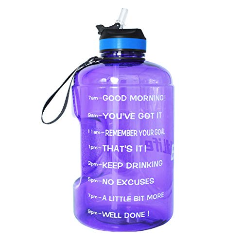 BuildLife Gallon Motivational Water Bottle with Time Marked to Drink More Daily and Nozzle,BPA Free Reusable Gym Sports Outdoor Large128OZ Capacity Light Purple, 1 Gallon