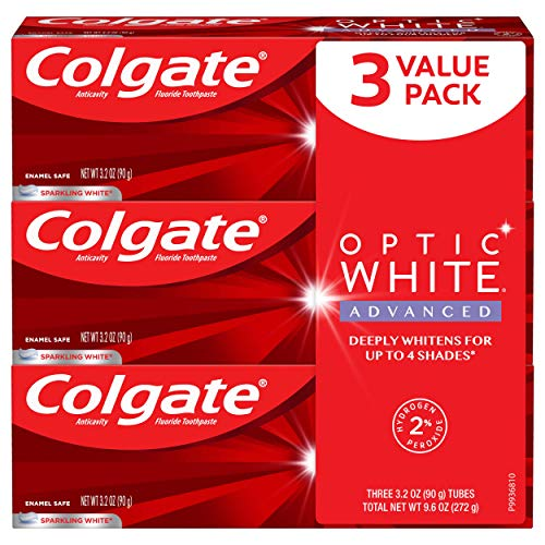 3.2 Ounce 3 Pack - Colgate Optic White Advanced Teeth Whitening Toothpaste, Sparkling White