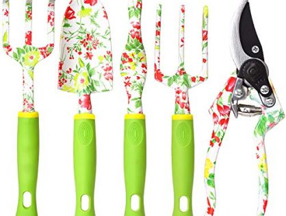 vanow Garden Tools Set, 5 PCS Heavy Duty Aluminum Garden Hand Tools Kit, Floral Print Gardening Tools Gifts for Women with Pruning Shears Weeder Hand Rake Shovel Cultivator