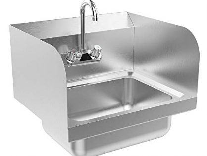 "Bonnlo Commercial Stainless Steel Perp/Bar Sink Hand Wash Sink - Wall Mount Hand Washing Basin Commercial Kitchen Heavy Duty with Faucet 17"" L x 15"" W x 14"" H With SideSplash"