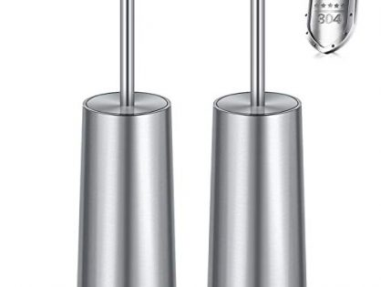 WITAIR Toilet Brush and Holder, 2 Pack Toilet Brush 304 Stainless Steel, Toilet Bowl Brush for Bathroom Toilet-Ergonomic, Elegant,Durable