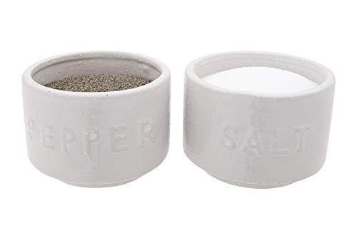Creative Co-op White Stackable Stoneware Salt & Pepper Lid Set of 2 Pinch Pot