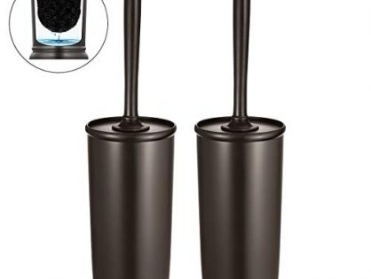 Homemaxs Toilet Brush and Holder 2 Pack 【2020 Upgraded】 Deep Cleaning Toilet Bowl Brush Set Ergonomic, Sturdy Bathroom Accessories Plastic Venetian Bronze