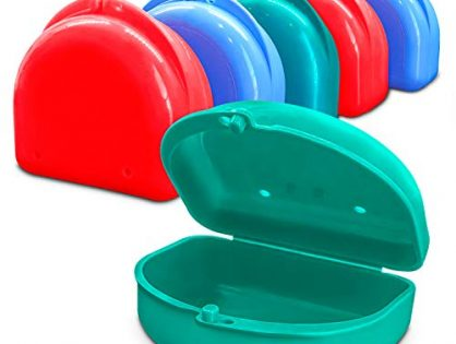 Fresh Knight Retainer Case. Multi-Color 6 Pack of Retainer Cases, BPA Free, Made in the USA. Retainer Case with Vent Holes. 2 Pink, 2 Teal, 2 Blue. Retainer Container.