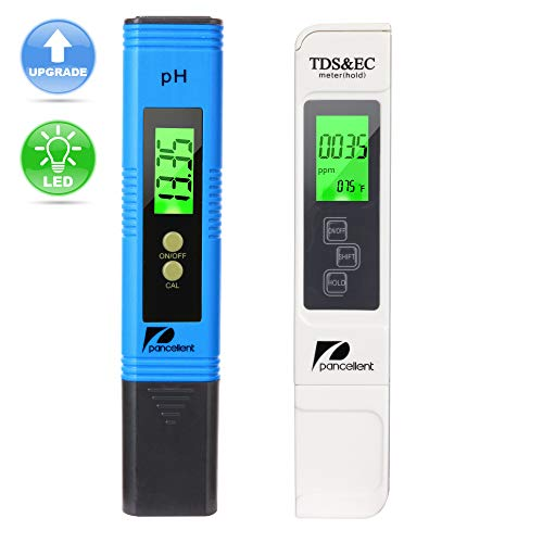 Water Quality Test Meter Pancellent TDS PH EC Temperature 4 in 1 Kit Blue,Upgrade LED