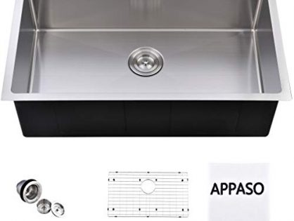 APPASO 30-Inch Single Bowl Handmade Kitchen Sink Undermount, 18 Gauge Commercial Stainless Steel 10 inch Deep Large Drop-in Kitchen Sink, R301810