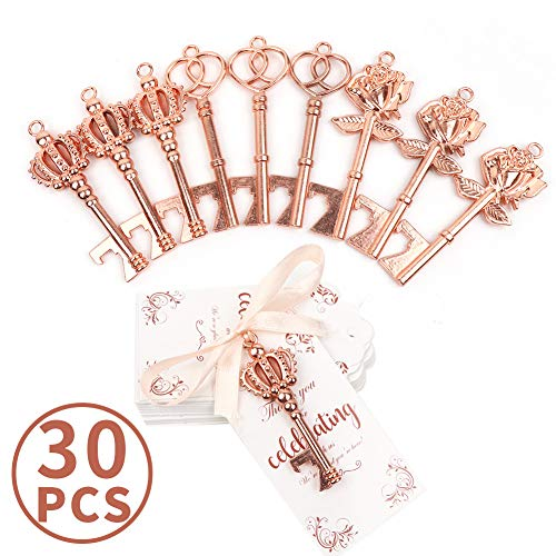 OurWarm 30pcs Wedding Favors Skeleton Key Bottle Opener with Tag, Rose Gold Key Bottle Opener with Ribbon for Guests Wedding Gifts Bridal Shower Housewarming Party Favors Rustic Decorations, 3 Styles