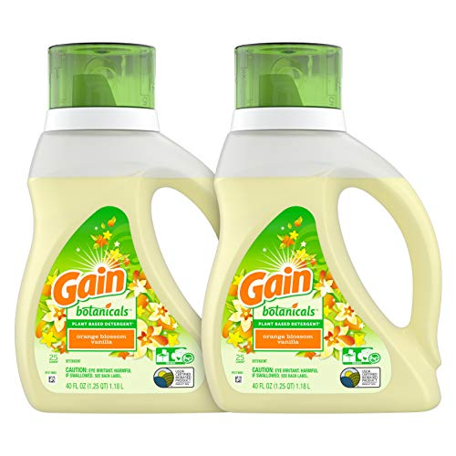 Gain Botanicals Plant Based Laundry Detergent, Orange Blossom Vanilla, 25 Loads, 40 ounces, 2 count Packaging May Vary