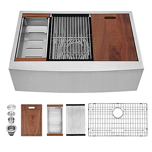 Sarlai 36 Inch Ledge Farmhouse Apron Single Bowl 16 Gauge Stainless Steel Luxury Kitchen Sink