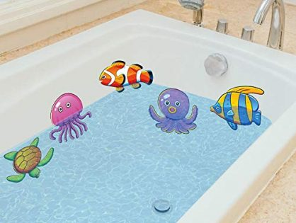 Ana Supplies Bathtub Stickers Smooth Tile Floor Decorating Adhesive Non Slip Shower sea Animals Bathroom Surface Stickers 10pcs