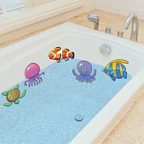 Ana Supplies Bathtub Stickers Smooth Tile Floor Decorating Adhesive Non Slip Shower sea Animals Bathroom Surface Stickers 10pcs