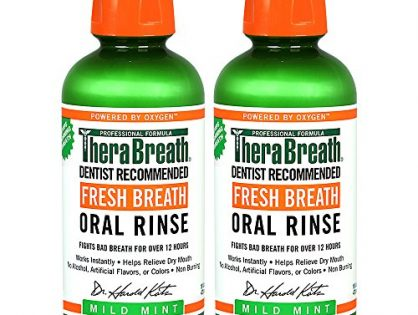 TheraBreath Dentist Formulated Fresh Breath Oral Rinse - Mild Mint Flavor, 16 Ounce Pack of 2