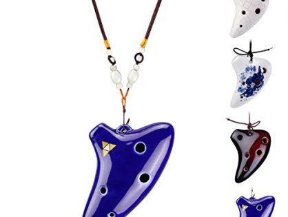 L'MS 6 Hole Ceramic Strawfire Mini Ocarina Legend of Zelda Triforce Design with Free Tutorial Songbook Blue