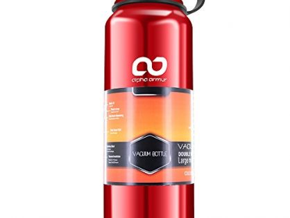 Alpha Armur 36 Oz 1.1L Insulated Water Bottle Double Wall Vacuum Insulated Stainless Steel Water Bottle with Wide Mouth, Red