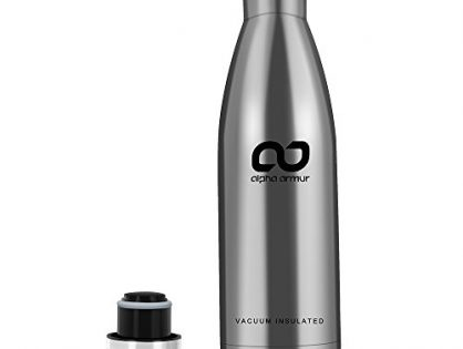 Alpha Armur 12 Oz 350ml Double Wall Vacuum Insulated Stainless Steel Water Bottle Flask 12 oz Water Bottle Kids Water Bottle Milk Bottle for Lunch Box with Narrow Mouth, Silver