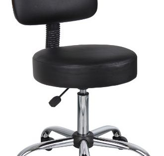 Boss Office Products B245-BK Be Well Medical Spa Stool with Back in Black
