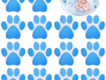 20 Pieces Bathtub Shower Sticker Bathtub/Bath Sticker Non-Slip Bathtub Mat Adhesive Paw Print Bath Treads for Bath Tub Pools Supplies Blue