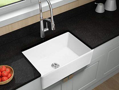Hoooh Farmhouse Fireclay Single Bowl Kitchen Sink 33 Inch Porcelain Undermount Rectangular White KS8450
