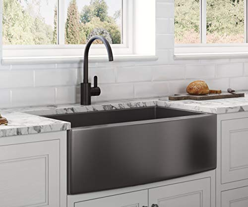 Single Bowl - RVH9880BL - Ruvati Gunmetal Black Matte Stainless Steel 36-inch Apron-Front Farmhouse Kitchen Sink