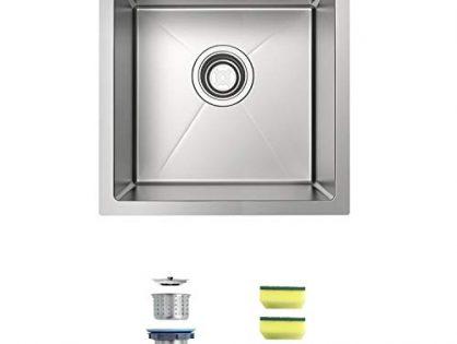 MENSARJOR 14 x 14 Inch Undermount 16 Gauge Single Bowl Handmade Stainless Steel Kitchen/Bar Sink