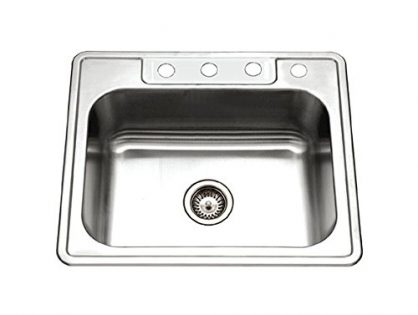 Houzer 2522-8BS4-1 Glowtone Series Topmount Stainless Steel 4-holes Single Bowl Kitchen Sink, 8-Inch Deep