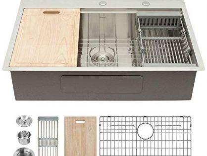 GhomeG 33 Inch Kitchen Sink Drop-in Topmount Ledge Workstation 18 Gauge Deep Single Bowl Sink