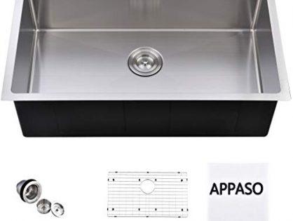 APPASO 32-Inch Single Bowl Handmade Kitchen Sink Undermount, 18 Gauge Commercial Stainless Steel 10 inch Deep Large Drop-in Kitchen Sink, R321910
