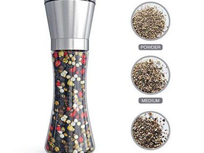 Tall Salt or Pepper Shakers with Adjustable Coarseness - Fsdifly Original Stainless Steel Salt or Pepper Grinder - Salt Grinders or Pepper Mill Shaker (Single Package) B