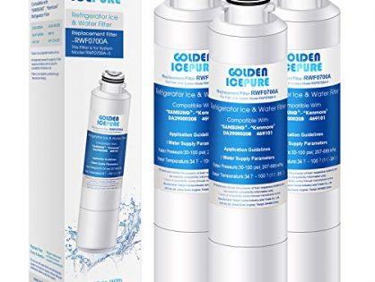 GOLDEN ICEPURE NSF 42 Certified DA29-00020B Refrigerator Water Filter, Compatible with Samsung DA29-00020B, DA29-00020A, DA97-08006A, HAF-CIN/EXP, 46-9101 Pack of 3