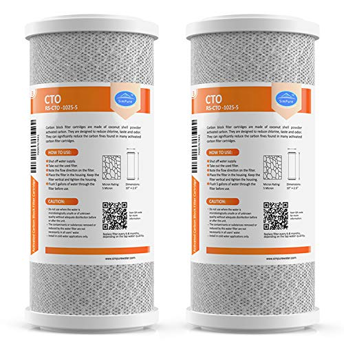 """SimPure Carbon Water Filter, 5 Micron 10""""x 4.5"""" Big Blue Carbon Block Filter Cartridge Replacement,Whole House CTO Carbon Sediment Water Purifier Filter Compatible with Most RO System, 2 Pack"""