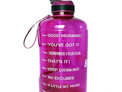 QuiFit Gallon Water Bottle with Straw and Motivational Time Marker BPA Free Easy Sipping 128/73/43 oz Large Reusable Sport Water Jug for Fitness and Outdoor Enthusiasts Fuchsia,1 Gallon