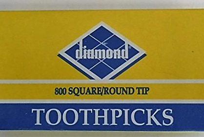 One 1 box of 800 Toothpicks - Diamond Square/Round Tip Toothpicks