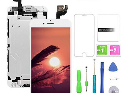 FFtopu Compatible with iPhone 6 Plus Screen Replacement White,LCD Display with 3D Touch Screen Digitizer Full Assembly+Home Botton+Front Camera+Earpiece+Free Screen Protector+Repair Tools Kit 5.5''