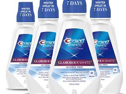 Crest 3D White Luxe Glamorous White Multi-Care Whitening Fresh Mint Flavor Mouthwash, 16 fl oz. Pack of 4