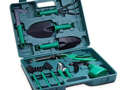 Akarden Gardening Tools Set, 10 Pieces Garden Tools Kit, Including Digging Weeder, Rake, Shovel, Sprayer, Multifunctional Gardening Gifts for GardenersGreen