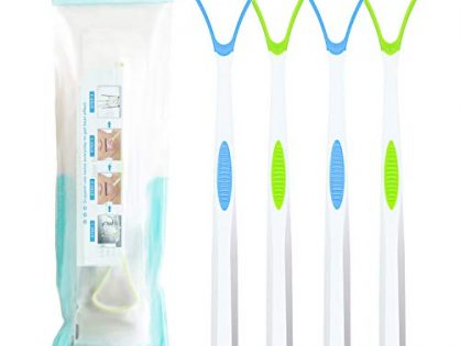 4PCS Tongue Cleaner, Soft Tongue Scraper, Oral Care Cleaners, Dental Scrapers Kits, Professional Eliminate Bad Breath, Premium Cleaning Tools 2Green+2Blue