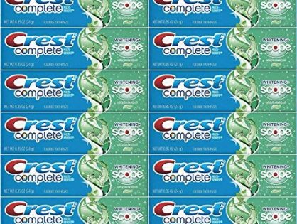 Crest Complete Whitening Plus Scope Minty Fresh Toothpaste, Travel Size, TSA Approved, 0.85 Ounce Pack of 12