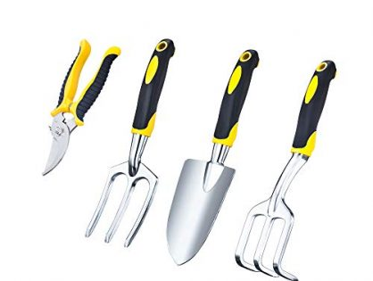 VILIVIT Gel Grip Garden Tools - Trowel Cultivator Pruner and Weeding Fork Kit - 4 Piece Plant Care Gardening Hand Tool Sets with Aluminum Heads Ergonomic Handles