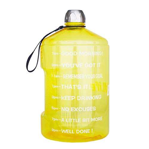 BuildLife 73OZ2.2L Water Bottle Motivational Fitness Workout with Time Marker/Drink More Daily/Clear BPA Free/Large Capacity Throughout The DayYellow,73OZ
