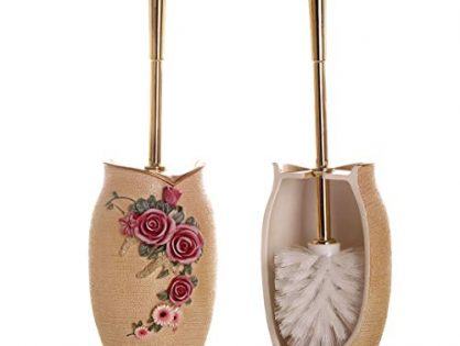 Strong Bristled Cleaner Brush with Holder - Glarcy Toilet Bowl Brush and Holder - Luxury Hand Painted Toilet Decor