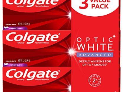 Colgate Optic White Advanced Teeth Whitening Toothpaste, Vibrant Clean 3 Count of 3.2 oz Tubes Each, 9.6 oz